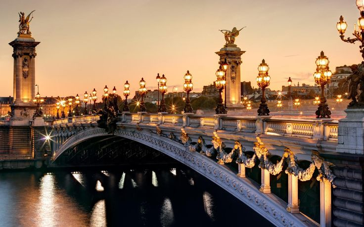 Paris France Pont Alexandrei roads sunset sky and lights .