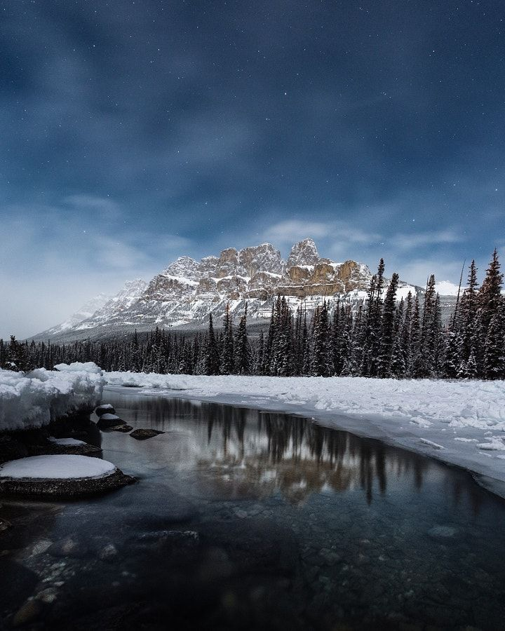 -25°f full moon castle mountain. bow river. banff. alberta. by Tanner Wendell Stewart   Processed with VSCO with m5 preset Tanner Wendell Stewart: Photos          500px
