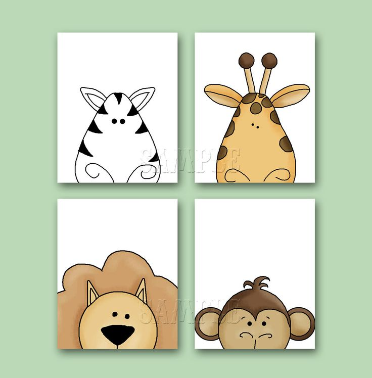 PEEKING JUNGLE Animal Art Set of 4 8x10 Art by FinalTouchesArtwork, $20.00