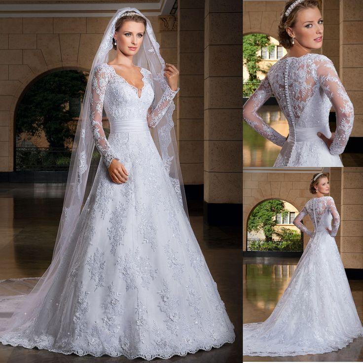 Vestidos De Noiva com manga 2014 Long Sleeve Lace Wedding Dress Bride Dress Vestido De Casamento