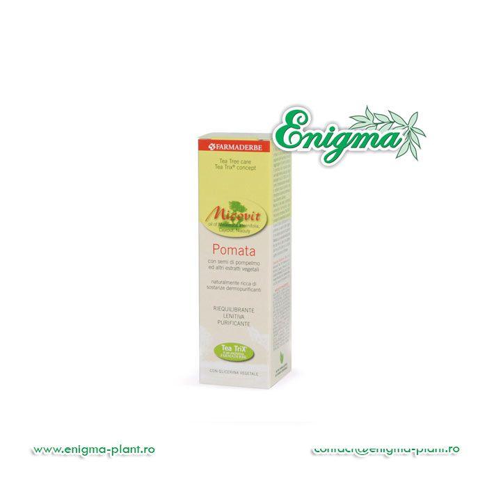 Micovit Unguent 30mldatorită amestecului exclusiv de uleiuri esenţiale Tea TriX® are o acţiune dermo-purificatoare, reechilibrantă şi calmantă, utilă pentru a lupta împotriva inestetismelor pielii care afectează pielea impură şi pentru un efect calmant imediat, în caz de disc
