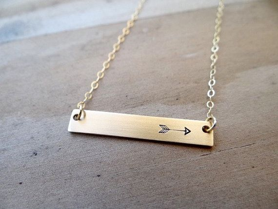 Gold Bar Necklace with Arrow. Hand Stamped Jewelry. by BBeadazzled
