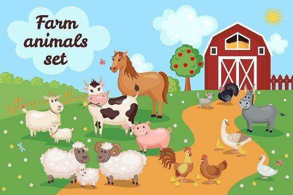 Farm Animals Set by romawka on @creativemarket