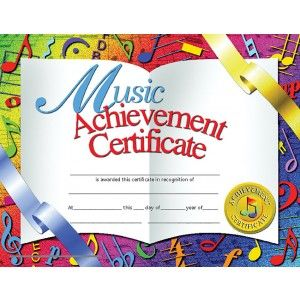 Music Achievement Certificate! 30/pack  Downloadable templates available to personalize or can be handwritten.