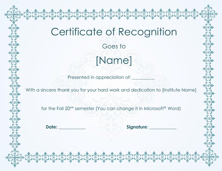 certification of recognition sample