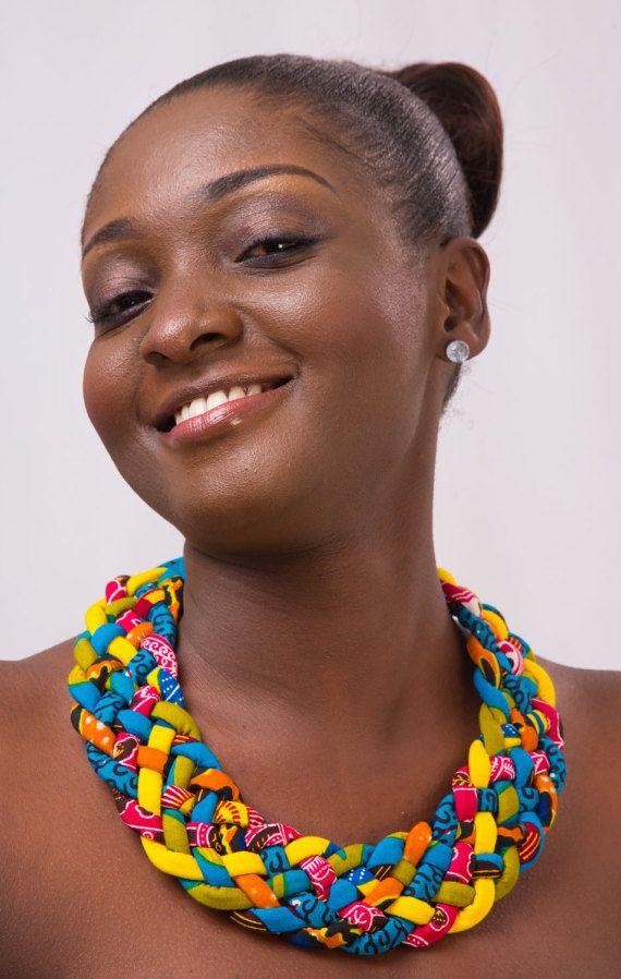 Woven African Print Necklace, Multi strand Ankara neckpiece, African fabric…
