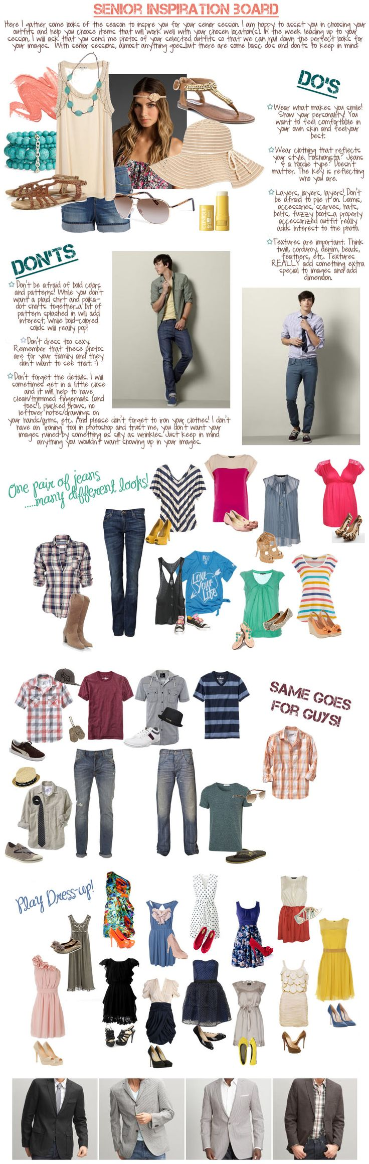 what to wear for senior photos -TIP everyone wants thinning tips, wear 3quarter length sleeves, wear a belt to show waist, don't wear clothes too big (or too small!)
