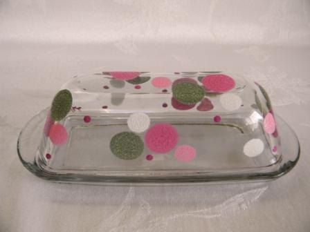 Hand Painted Butter Dish Covered Butter Dish Polka Dots
