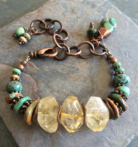 Chunky, faceted citrine nuggets sit between all sorts of natural green turquoise in this great chunky, rustic bracelet along with copper spacer