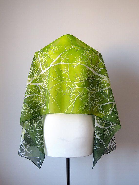 Bright green silk scarf with white tree   handpainted scarves, #silkscarf #Handpaintedscarves, #greenscarf, #limesilkscarf