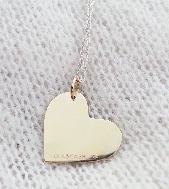 gold heart pendant solid 9ct yellow gold heart by LolaAndCash, $220.00