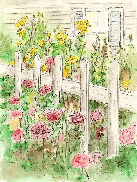 Cottage Garden Watercolor Print Watercolor Art Garden