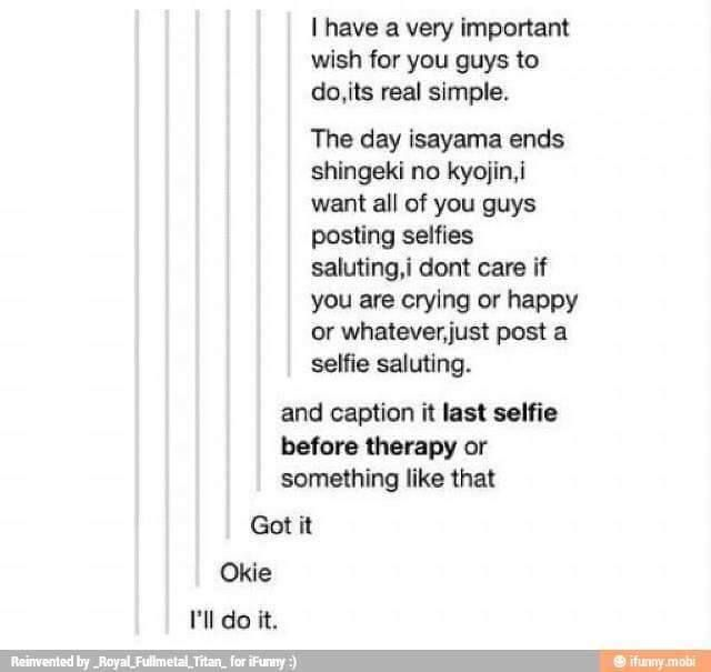Ill do it. But I don't think aot will be ending anytime soon....  #AttackOnTitan #AOT #anime ..