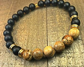 Men's Beaded bracelet, mens bracelet, beaded bracelet, stretch bracelet, jewelry, gifts for him, stackable bracelet, yoga jewelry