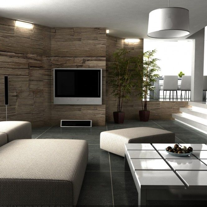 love the big tile flooring and the old raw wood walls - adds a lot of desired textures