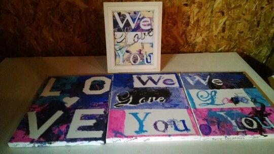 Grandparents Christmas presents. Some blank canvas, masking tape, and some acrylic paint. Our ladies did a great job!