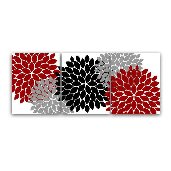 Digital bathroom wall art set of 3 modern bath art in red for Red and grey bathroom accessories