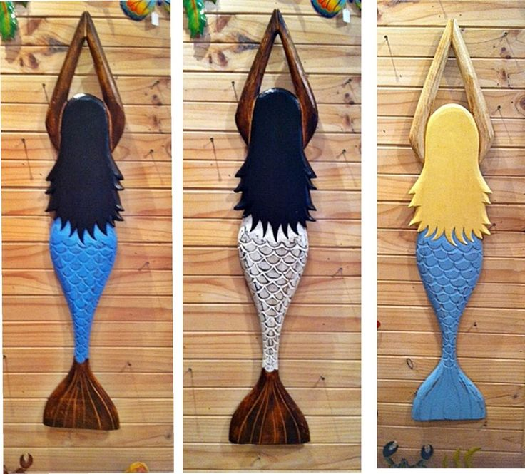 Mystical Mermaid Large set of 3 (wood) 100cm Pool Spa Deck Beach House sea ocean