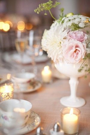 Milk glass is a popular container for a vintage feel wedding.  We have milk glass in stock and can order for your Wedding.   Gifford's Flowers