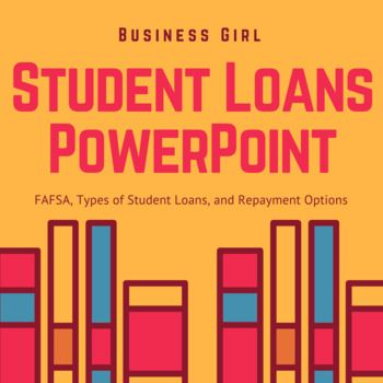 I use this PowerPoint Presentation with my high school students in Personal Finance. This PowerPoint covers various student aid options. Topics covered include: FAFSA, Federal Pell Grant, Federal Studnet Loans: Subsidized, Unsubsidized, Plus Loans, Perkins Loans Private, Student Loans, Repayment Tips and Options, Consolidation, Deferment, Forbearance, and 3 Scenarios for class discussion. This lesson is a great way to teach high students about student loans.