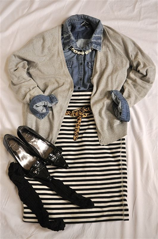 Chambray and Striped Jersey Skirt but make the cardigan cobalt blue