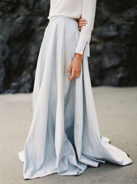 Pure And Simple Minimalist Light Blue Maxi Skirt With Bright White Blouse Beach Elegant