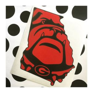 UGA Bulldog Decal Sticker - Red and Black - Georgia - University of Georgia Sticker - Georgia Bulldog - Georgia Decal by GRAPHICSBYKODI on Etsy https://www.etsy.com/listing/235033493/uga-bulldog-decal-sticker-red-and-black