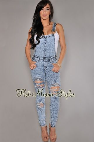 Stone Wash Denim Destroyed Fitted Overall Womens clothing clothes hot miami styles hotmiamistyles hotmiamistyles.com sexy club wear evening clubwear cocktail party kim kardashian dresses