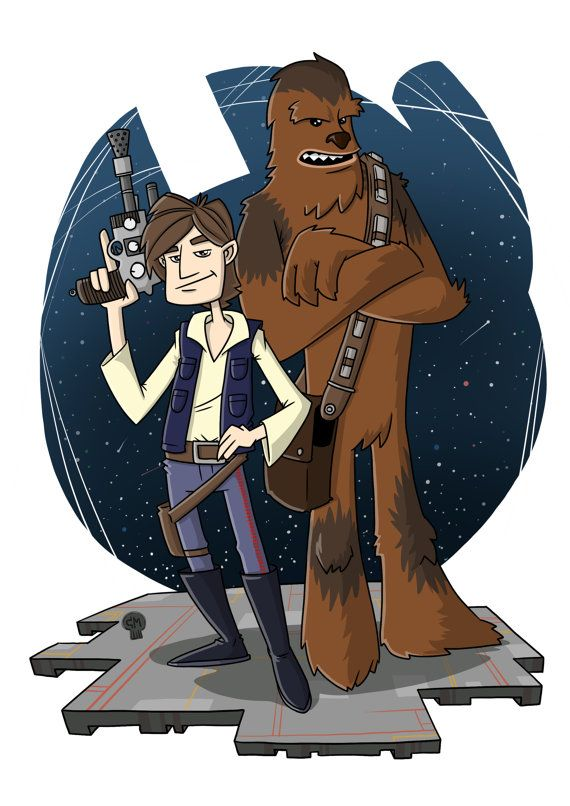 Han Solo & Chewbacca by chrismcquinlanart on Etsy