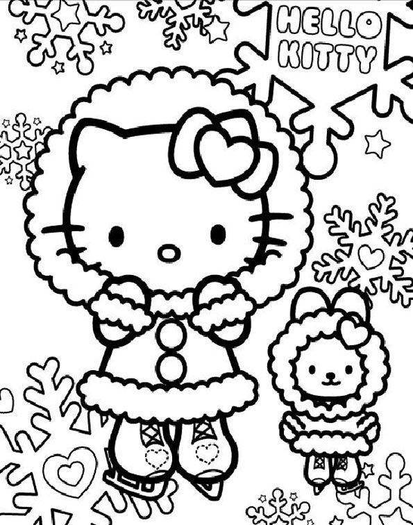 Coloriage Hello Kitty Et Flocons De Neige Et Dessin Gratuit A