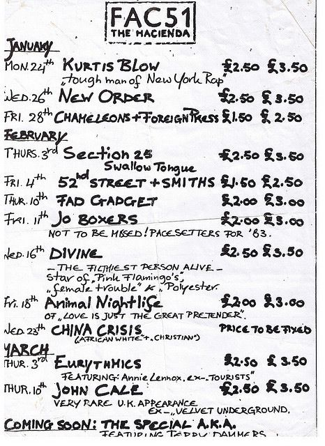 Flyer with musical listings for Fac 51 Haçienda shows, Manchester, 1983.