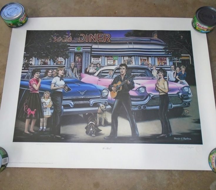 Signed and numbered print titled 'It's Elvis' by Pamela Renfroe. Signed in 2002, in like new condition. 20.5 by 27.5 inches. Never displayed.