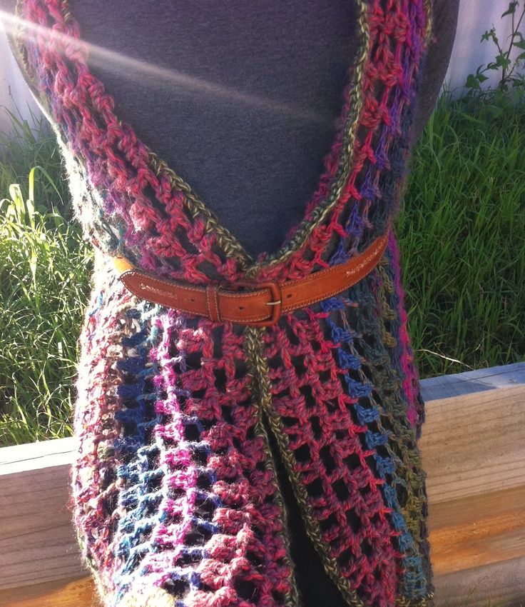 Crochet Lace Jacket Vest in Rainbow-To fit Small to Plus Size. $160.00, via Etsy.
