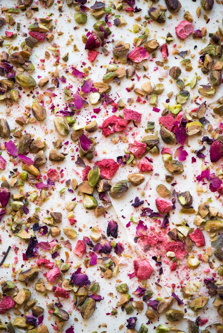 Rose, Strawberry & Pistachio White Chocolate Bark With Pink Sea Salt