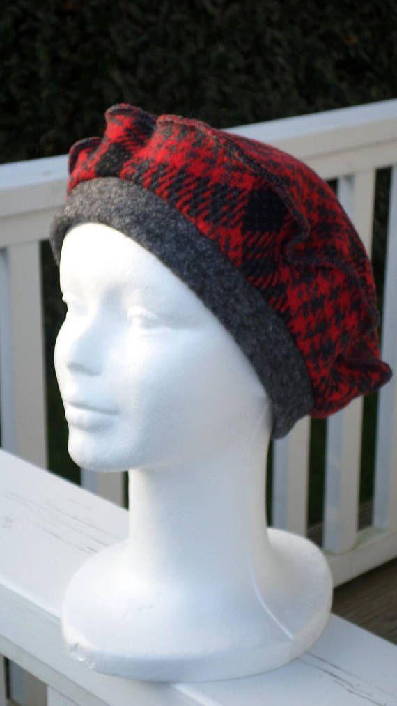 Bonnet chapeau béret turban laine gris et rouge écossais femme ... 8c123c81d14