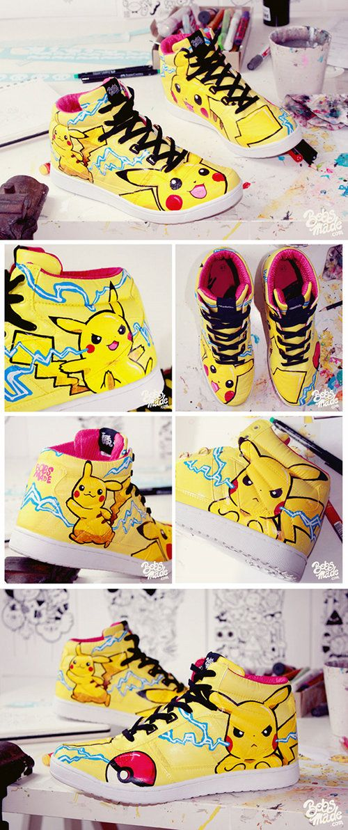 Custom Pikachu Shoes by Bobs Made on Fanboy Fashion.