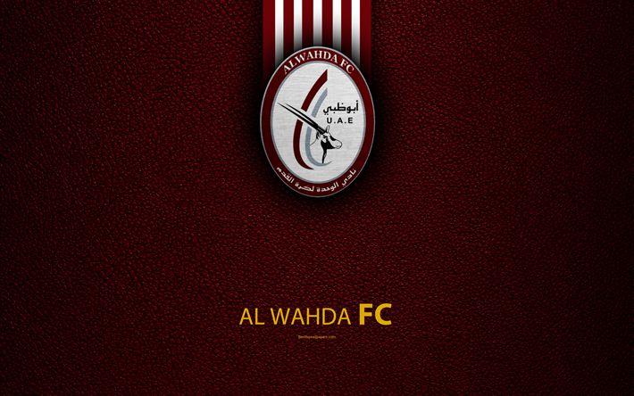 Download wallpapers Al Wahda FC, 4K, logo, football club, leather texture, UAE League, Abu Dhabi, United Arab Emirates, football, Arabian Gulf League