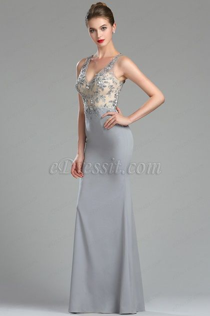 fda731a58af Looking for low price but high quality eDressit Sparkly Beaded Grey Floral  Prom Gown for Women