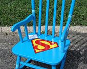 Vintage Painted Superman Childs Rocker Rocking Chair