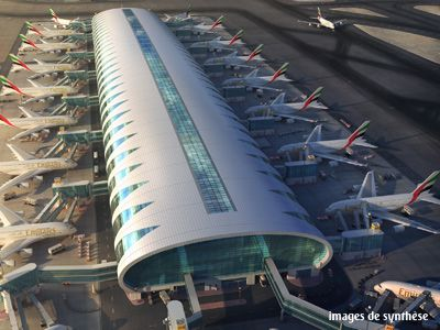 Emirates A380 hub in Dubai airport