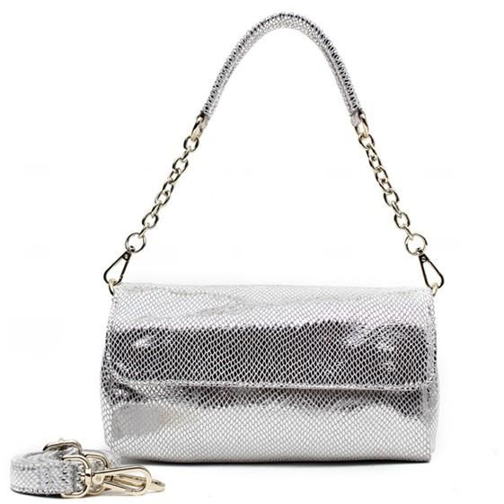 Genuine Leather Small Shoulder Bag - Metallic Silver