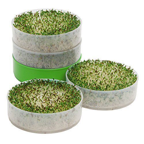 4 Tray Seed Sprouter Patent Pending Hydrophobic Irrigation System Healthy Garden #VictorioKitchenProducts