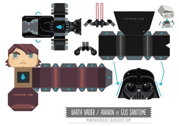 Blog Paper Toy papertoy Mini Darth Vader template preview Star Wars Mini Darth…