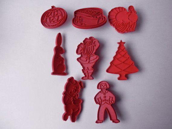 Set of 8 vintage red plastic COOKIE CUTTERS midcentury