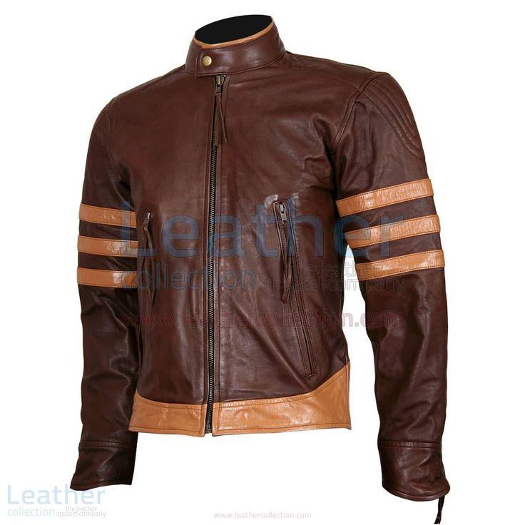 Esta jaqueta marrom de motociclista é uma réplica exata do casaco usado por Logan (Hugh Jackman) como Wolverine em X Men United. O couro de couro real antigo do couro de 100% é usado como uma matéria- prima para fazer este equipamento elegante, listras do camelo nos braços e em torno da cintura. Graças ao zíper frontal, zíperes YKK, punhos zíper com tiras marrom camelo, design colar aba com botão dentro forro acolchoado, edição limitada.  preço regular =  R$1.254