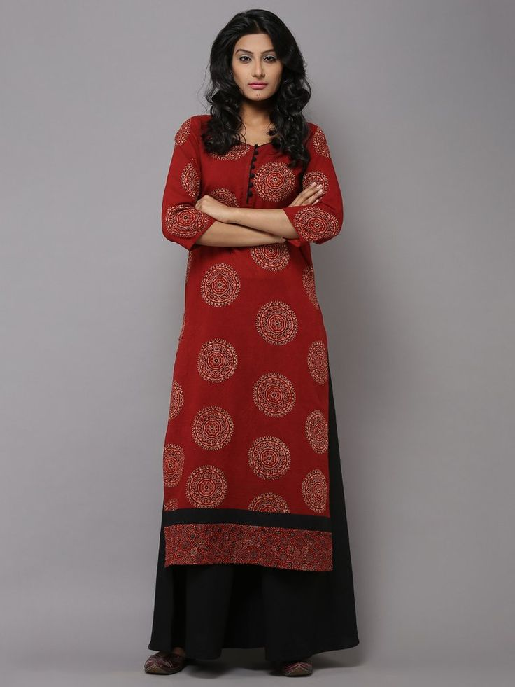 Red Cotton Circle Print Kurta