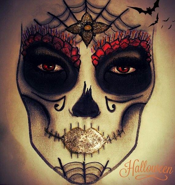Калавера («череп») — мексиканский символ Дня мертвых. На сегодняшний день один из самых популярных образов #sugarskull на #хэллоуин  Яркий акцент - золотые глиттерные губы и цветок на паутине   С уважением к Вам, Анастасия!  #визаж #визажист #визажистсерпухов #визажистпущино #визажистпротвино #визажистпущино #визажистзаокский #визажистчехов #макияж #beautyanastasiavasko #makeup #beauty #makeupartist #mua #halloween