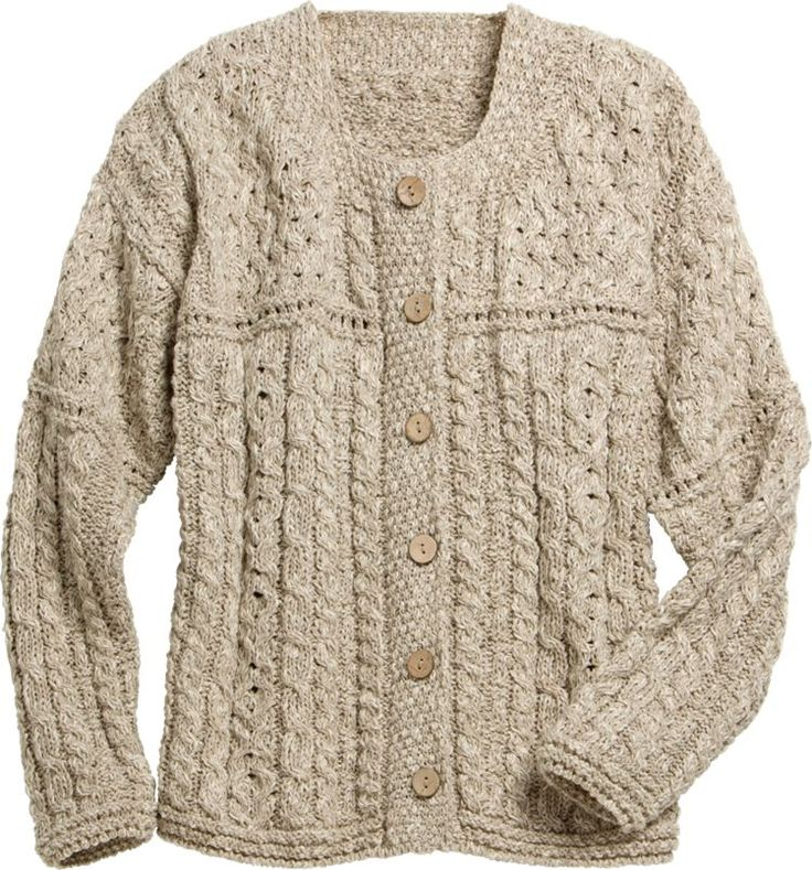 Women's Irish Knit Cotton-Rich Sweater: Fashioned from a lighter weight cotton-linen blend, making it ideal for spring's more moderate temps. Yet this classic Irish sweater retains its distinguishable look and charm with a patchwork of cable and lattice stitches, the former symbolizing good luck and the latter symbolic of a plentiful catch.