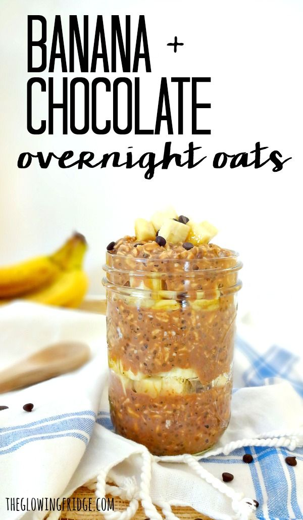 Banana Chocolate Overnight Oats. Vegan overnight oats with enough chocolate flavor to feel like a treat, but is still a super healthy breakfast on-the-go.