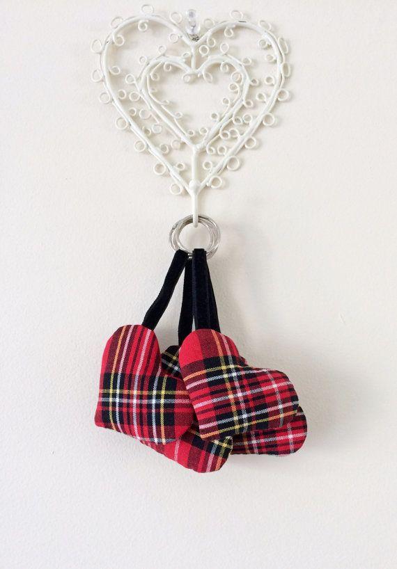 Sale Royal Stewart Tartan Heart Key Ring Key by DoniqueDesigns